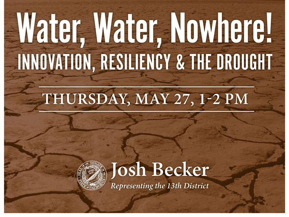 State Senator Josh Becker holds an online talk on water resilience on May 27