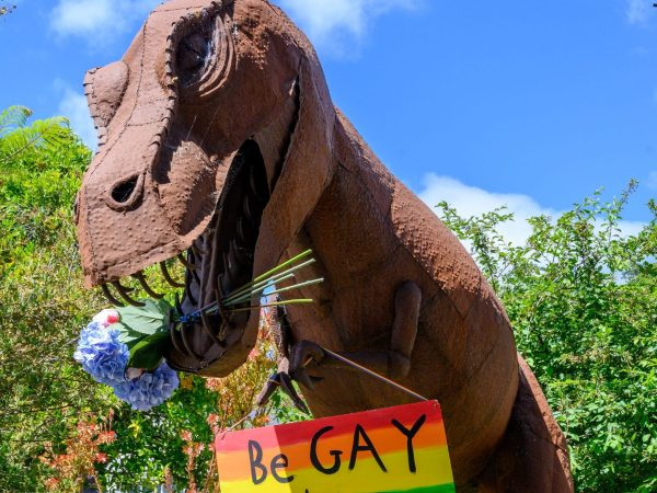 Spotted: Dinosaur on Sharon Road decked out for Pride Month