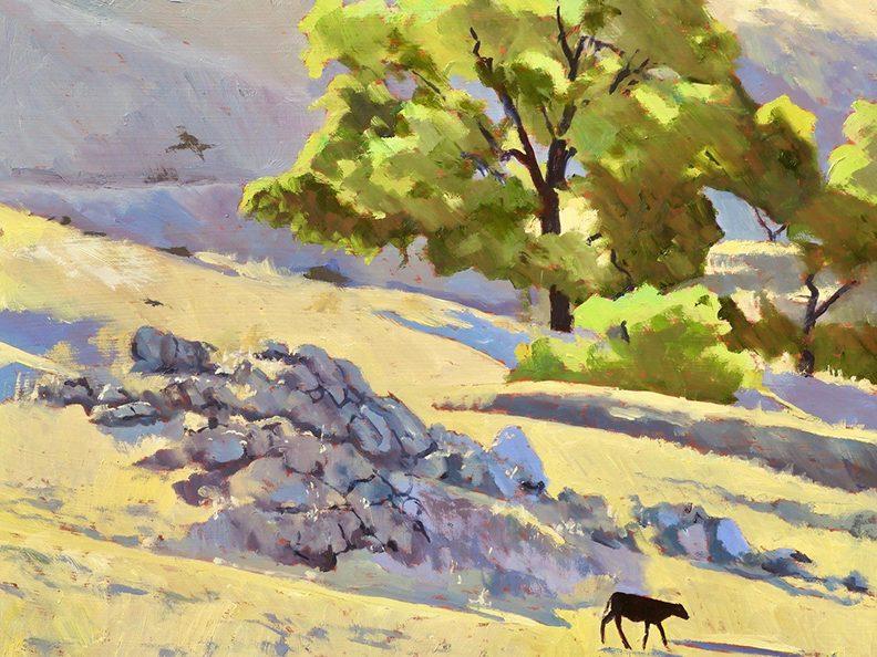 Jim Caldwell's paintings of Pepperwood  Preserve on display at Preserve's gallery