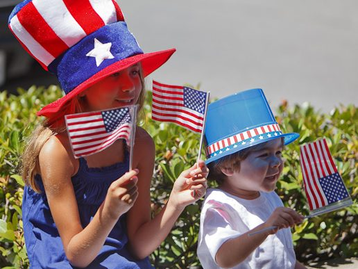 Youngsters celebrating 4th of July in Menlo Park over the years