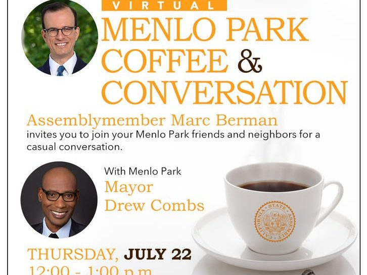 Menlo Park residents invited to virtual coffee hour with Marc Berman and Drew Combs