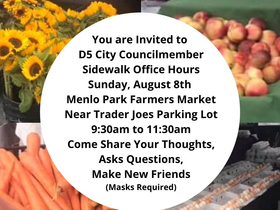 Councilmember Ray Mueller holds office hours at farmers market on August 8