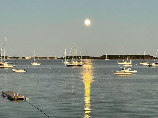 Spotted: Harvest moon over the water in Hyannis