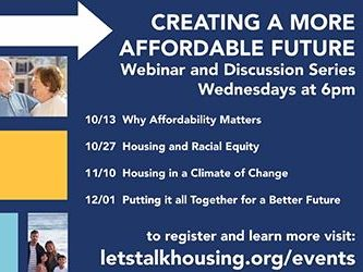 Webinar series on creating more affordable housing starts on October 13