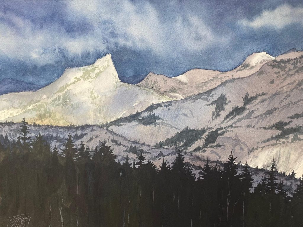 Watercolor paintings by Steve Curl are featured at Portola Art Gallery in October